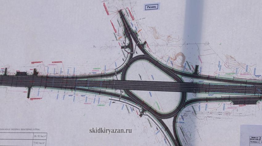 Схема развязки на Михайловском шоссе в Рязани