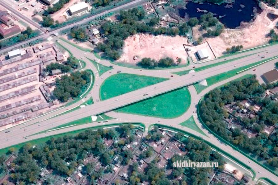 Фото развязки на Михайловском шоссе в Рязани